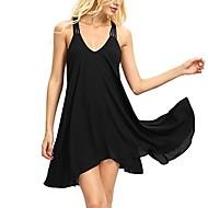 女性用 スウィング ドレス ミニ ディープVネック