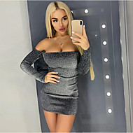 Damen Bodycon Kleid - Pailletten, Solide Mini
