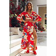 Жен. Уличный стиль Элегантный стиль С летящей юбкой Платье - Цветочный принт, Оборки Макси