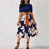 cheap -2019 New Arrival Dresses Women's Floral Plus Size Going out Skater Dress Elbise Vestidos Robe Femme - Floral Print Summer Black Navy Blue Wine XXXL XXXXL XXXXXL