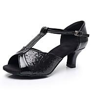 Pentru femei Imitație Piele Pantofi Dans Latin Cataramă / Strălucire / Paiete Sandale / Călcâi Toc Cubanez Personalizabili Negru / Argintiu / Antrenament / Performanță