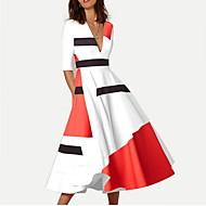 فستان نسائي متموج طول الركبة ألوان متناوبة