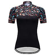 TELEYI 女性用 半袖 サイクリングジャージー - ブラック バイク ジャージー トップス 速乾性 スポーツ テリレン マウンテンサイクリング ロードバイク 衣類 / マイクロエラスティック