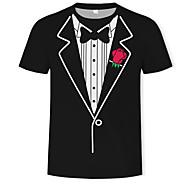 Hombre Estampado - Algodón Camiseta, Escote Redondo 3D Negro US36