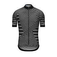 Men's Short Sleeve Cycling Jersey - Black Stripes Bike Jersey Top Sports Terylene Clothing Apparel / High Elasticity