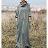 Women's Plus Size Street chic Maxi Sheath Dress - Solid Colored Fashion Turtleneck Spring Black Silver XL XXL XXXL