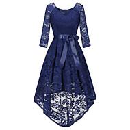 Kadın's Vintage Zarif Kılıf Çan Elbise - Solid, Dantel Fiyonklar Asimetrik