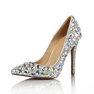 Γυναικεία Λουστρίν Άνοιξη & Χειμώνας Γαμήλια παπούτσια Τακούνι Στιλέτο Μυτερή Μύτη Πέρλες Ουράνιο Τόξο / Ασημί / Γάμου