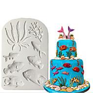 Molde de silicone 3d mar fondant bolo decoração starfish shell chocolate gumpaste molde