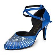 billige Moderne sko-Dame Moderne sko Sateng Høye hæler Rhinsten Slim High Heel Kan spesialtilpasses Dansesko Blå