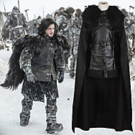 Game of Thrones Jon Snow Cloak Costume Men's Movie Cosplay Black Top Skirt Cloak Halloween Carnival PU Leather Polyster