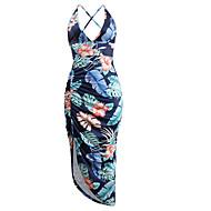 女性用 エレガント シース ドレス - バックレス, フラワー アシメントリー