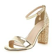 Pentru femei Imitație Piele Toamnă / Primavara vara Sandale Toc Îndesat Auriu / Argintiu