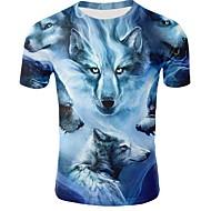 Homens Camiseta Animal Decote Redondo Azul XXXL