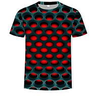 halpa -Miesten Pyöreä kaula-aukko Painettu Color Block / 3D Katutyyli / Liioiteltu T-paita Purppura / Lyhythihainen
