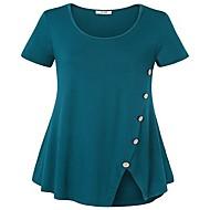 女性用 パッチワーク プラスサイズ Tシャツ ルーズ ソリッド ワイン XXXL