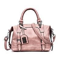 สำหรับผู้หญิง กระเป๋าต่างๆ PU กรเป๋าหิ้ว ซิป สีทึบ สีแดงชมพู / สีเทา / สีน้ำตาล