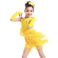 Latin tánc / Gyermek táncruhák Ruhák Lány Edzés / Teljesítmény Poliészter Rojt / Kristályok / Strasszok Ujjatlan Ruha / Kesztyűk
