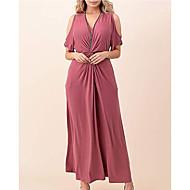 Γυναικεία Κομψό Swing Φόρεμα - Μονόχρωμο Μακρύ