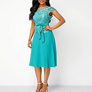 cheap -Women's Kentucky Derby Going out A Line Shift Dress - Solid Colored Lace High Waist Summer Lace Navy Blue Light Blue L XL XXL