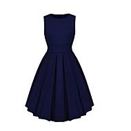 Жен. Классический Оболочка С летящей юбкой Платье - Однотонный До колена
