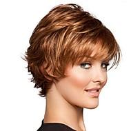 Synteettiset peruukit / Otsatukat Kihara / Loose Curl Tyyli Sivuosa Suojuksettomat Peruukki Ruskea Ruskea / Burgundy Synteettiset hiukset 12 inch Naisten Muodikas malli / Naisten / synteettinen Ruskea