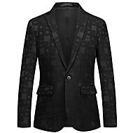 Men's Blazer, Solid Colored / Geometric Notch Lapel Rayon / Polyester Black XXXXL / XXXXXL / XXXXXXL