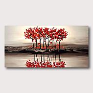 olcso -Hang festett olajfestmény Kézzel festett - Absztrakt Absztrakt tájkép Kortárs Modern Tartalmazza belső keret / Nyújtott vászon