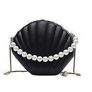 女性用 バッグ PU クロスボディーバッグ パール装飾 / チェーン 純色 ブラック / ルビーレッド / ピンク