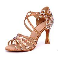 Pentru femei Satin Pantofi Dans Latin Piatră Semiprețioasă / Cataramă Sandale / Călcâi Toc Flared Personalizabili Maro / Performanță