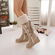 สำหรับผู้หญิง หนังเทียม ฤดูใบไม้ร่วง & ฤดูหนาว บูท รองเท้าส้นตึก สีดำ / ผ้าขนสัตว์สีธรรมชาติ / สีน้ำตาล