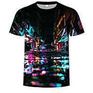 T-shirt Męskie Nadruk Wszechświat / Kolorowy blok / 3D Tęczowy XL