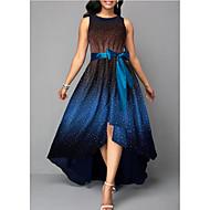 cheap -Women's Elegant Asymmetrical Swing Dress - Polka Dot Blue Green Orange XXXL XXXXL XXXXXL