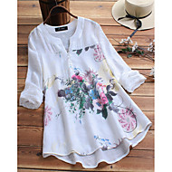 Women's Chinoiserie / Elegant Plus Size Loose Shirt - Floral Print V Neck White
