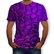 זול -3D צווארון עגול טישרט - בגדי ריקוד גברים דפוס סגול XL