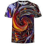 Rund hals EU / USA størrelse T-skjorte Herre - 3D, Trykt mønster Regnbue XXXXL