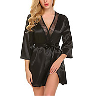Women's Satin & Silk / Suits Nightwear - Lace / Bow Solid Colored