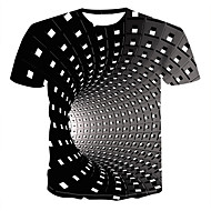 זול -גיאומטרי / 3D צווארון עגול סגנון רחוב / פאנק & גותיות מידות גדולות טישרט - בגדי ריקוד גברים דפוס שחור / שרוולים קצרים