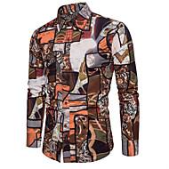 男性用 プリント プラスサイズ シャツ レギュラーカラー 幾何学模様 ルビーレッド XXXL