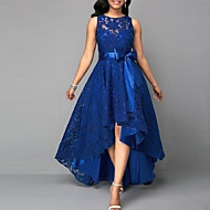رخيصةأون -فستان نسائي متموج راقي أنيق دانتيل قصير جداً نحيل لون سادة