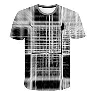 Tee-shirt Homme, Bloc de Couleur / 3D / Graphique Imprimé Gris XXXXL