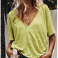 Tee-shirt Femme, Couleur Pleine Col en V Gris