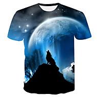 Ανδρικά T-shirt Γαλαξίας / Συνδυασμός Χρωμάτων / 3D Στάμπα Θαλασσί XXL