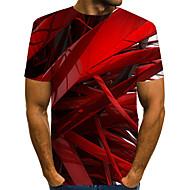halpa -Miesten Pyöreä kaula-aukko Painettu Color Block / 3D / Kuvitettu Katutyyli / Liioiteltu Klubi EU / US-koko - T-paita Rubiini / Lyhythihainen
