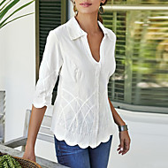 Women's Daily Wear Blouse - Solid Colored V Neck White