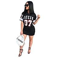 Women's T Shirt Dress - Letter Print White Black M L XL