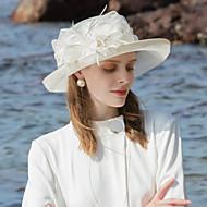100% Lin Fascinators / Chapeaux avec Plume / Bloc de Couleur 1pc Occasion spéciale / Fête / Soirée Casque