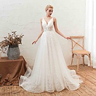 A-Line V Neck Court Train Tulle Made-To-Measure Wedding Dresses with Appliques by LAN TING Express