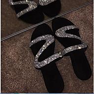 저렴한 -여성용 샌들 플랫 둥근 발가락 크리스탈 PU 여름 블랙