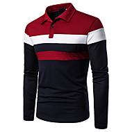 halpa -Miesten Patchwork Color Block Perus Polo, Musta ja punainen Rubiini